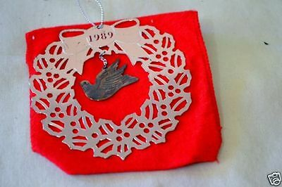 "Avon 1989 Christmas Silverplate Ornament - ""Peace"" Dove - Original Box"