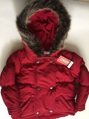 NWT Gymboree Penguin Chalet Red Puffer Jacket Fur Lined Hood 2T 3T