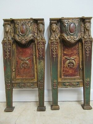 Victorian Masonic Architectural Salvage Cast Iron Theater Seat Industrial legs B