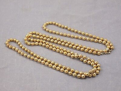 """Vintage ART DECO 1920's solid brass bead flapper rope Long necklace 54"""""""