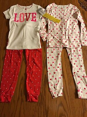 Carter's Girls' Love Hearts Polka Dot 4-Piece Pajamas NWT SZ 5T Valentines Day