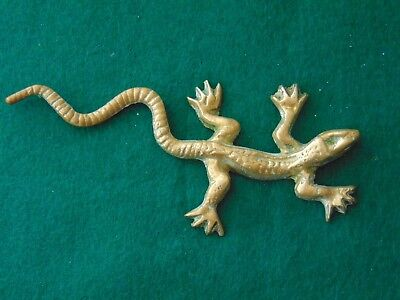 Vintage European Solid Brass Lizard Figurine/Lizard is 5 inches long