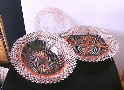 """Miss America Glass divided relish, 5 5/8"""" plate, vegetable dish, Anchor Hocking"""