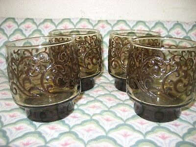 "LIBBEY Set of 4 Tawny Brown PRADO 3 1/4"" Short Old Fashioned Tumbler EUC Lot A"