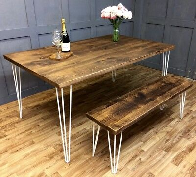 Industrial Hairpin Dining Table Rustic Vintage Farmhouse Reclaimed Hairpin Table