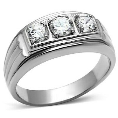 Stainless Steel Mens Triple Cubic Zirconia Wedding  Ring-Sizes 8-13 Father's Day