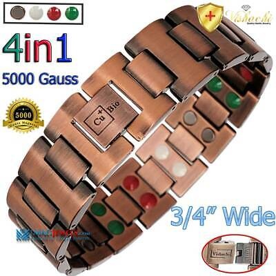 Pure Solid Copper Magnetic Therapy Chain Bracelet Men Arthritis +Adjuster Pc03W