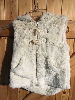 """Fake Fur Girls Gilet By Next Kids Age 3/4 Years Cream White Fur Chest 22"""" Hooded"""
