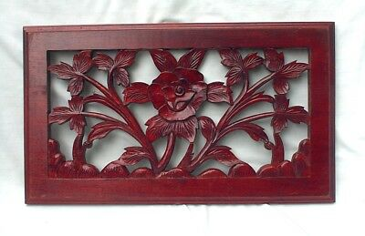Vintage Wood Mahogany Carved Panel Flowers Plants Leaves Wall Hanging