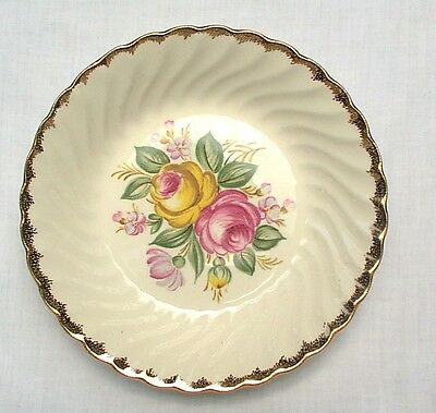 "Quban Royal  8"" Soup Salad Bowls China Gold Trim Pink Flowers EIGHT"