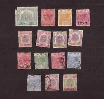 Malaya State of Selangor lot Mint + Used stamps from the 1890s