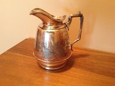 Beautiful antique Meriden silverplate creamer syrup pitcher etched