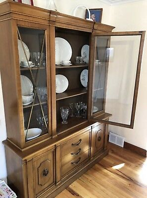 Antique China Hutch Circa 1960u0027s Wood Glass Front Cabinet Dining Furniture