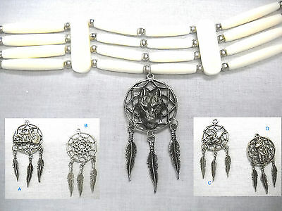 NEW 4 ROW WHITE BONE CHOKER NECKLACE w WOLF HEAD DREAM CATCHER PEWTER PENDANT