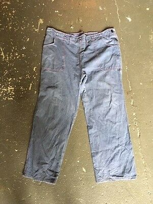 40's work wear vintage french work pants blue red stich texitile 1940's