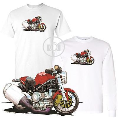 Ducati Monster Red Bike Koolart Motorcycle Car Cartoon Art White T