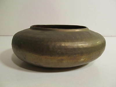 Vintage Hand Crafted Solid Hammered Brass Planter Dish Oval