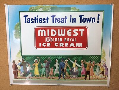 Midwest Ice Cream Sign Litho Press Sheet Vintage