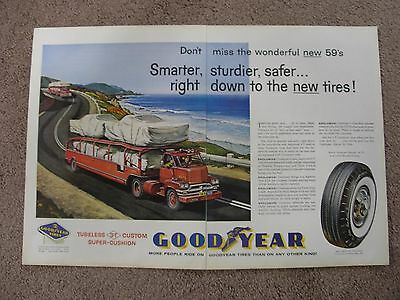 1958 Goodyear Tire Ad With Car Haulers Large 2 Page Color Ad Free Shipping