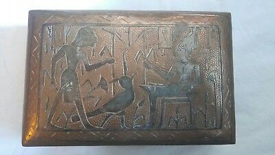 Antique Copper Box with Silver Ancient Egyptian Figures