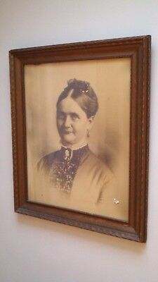 Large Antique Wooden Picture Frame with Original Vintage Photograph