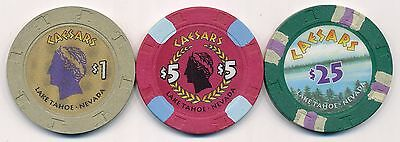 Caesars Lake Tahoe 3rd Issue $1, $5, and $25 Chips