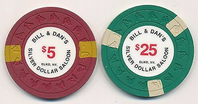 Bill /& Dan/'s Silver Dollar Saloon $25 Casino Chip Elko Nevada HHR Mold 1991