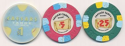Caesars Lake Tahoe 2nd Issue Chips $1, $5, and $25 1980's