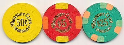 TREASURY CLUB SPARKS .25, $5, and $25 CASINO CHIPS 1989