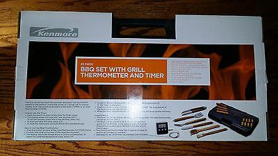 Kenmore 20 Piece Stainless Steel BBQ Set with Grill Thermometer & Timer - NEW