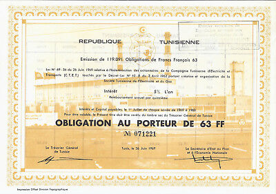 REPUBLIQUE TUNISIENNE 1969 Opligation au Porteur 63 FF Tunis Tunesien HWP