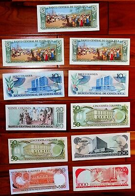 Costa Rica lot of 11 banknotes 5 to 1000 colon dates range from 1972 to 2004