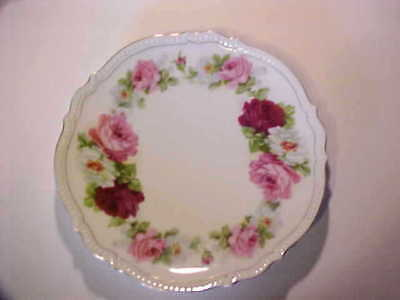 """Silesia ~ Vintage Silesia P K Porcelain Plate Pink & Red Roses ~ 8 1/2"""""""