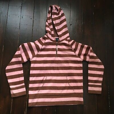 Mini Boden Striped Jumper With Hood Hooded Brown Pink 13-14 Years Girl Top