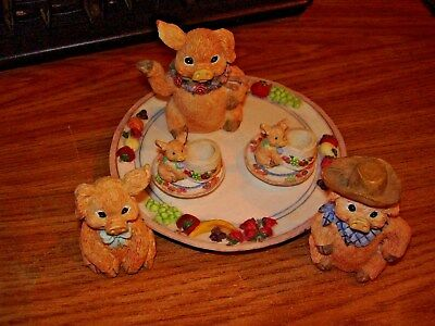 Pig Family Miniature 10 Piece Garden Tea Party Set by by Youngs inc. 1995