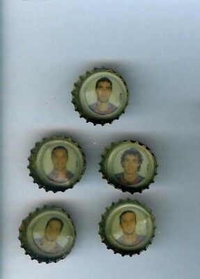 5  Soccer Player Bottle Caps 1996  From Spain Coke Coca Cola Kronkorken  Vhtf  B
