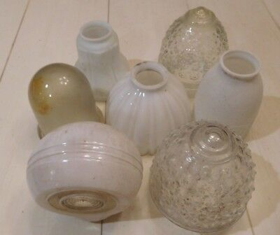 7 Rare Vintage Light Fixture Glass Shades-Very Nice Condition-Low Price