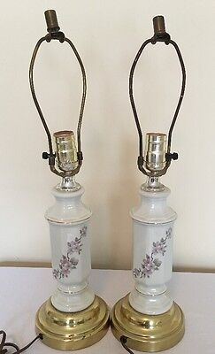 Vintage Pair of Porcelain Floral Bedside Table Lamps PRIMITIVE SHABBY CHIC