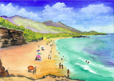 """Reproduction Print of Watercolor Painting 5x7/"""" Club Orient Beach Saint Martin"""