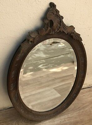 ANTIQUE VINTAGE FRENCH WALL MIRROR ~ CARVED WOOD FRAME with BEVELED MIRROR