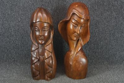 "S.C. Vizcarra Set Of Two Wood Hand Carved Figurine Busts 17.5"" & 18.5"" Tall"