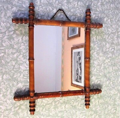 "VINTAGE FRENCH FAUX BAMBOO WALL MIRROR 16"" x 18"" TRADITIONAL RUSTIC WOOD ANTIQUE"