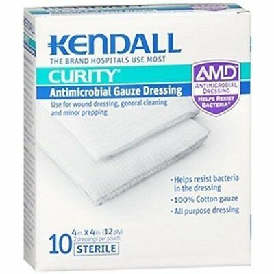 Kendall Curity AMD Guaze 4in X 4in Dressing, 10ct