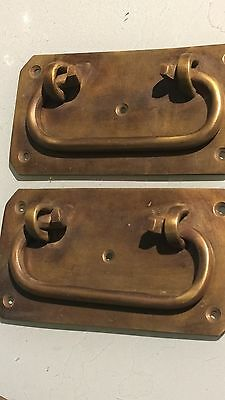 "2 large BOX HANDLES chest brass furniture old vintage age style 5"" solid BRASS B"