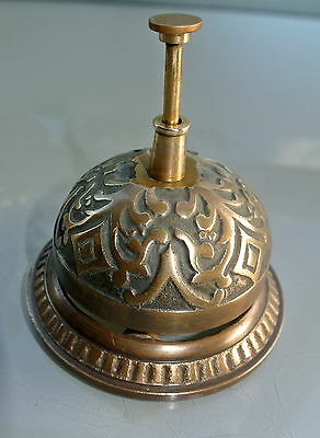 aged BELL shop counter solid brass old vintage style antique assist press ring B