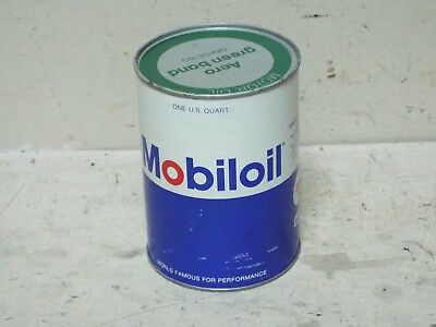Vintage Mobil Aero Green Band Grade 120 Avition Oil Paper Full Oil Can
