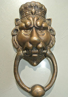 "small crown LION head heavy front Door Knocker SOLID BRASS vintage style 6.1/2""B"