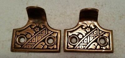 Pair Vintage Antique Victorian Solid Brass  Sash Lift Window Lifts (#1H)