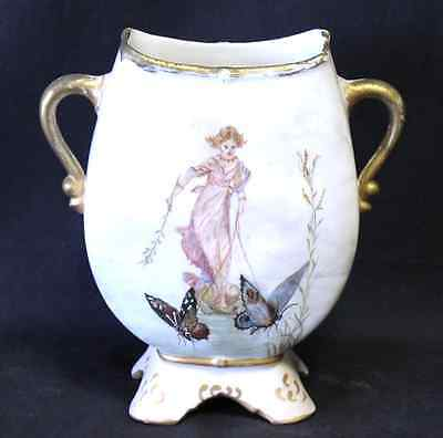 French Victorian 2 Handled Porcelain Vase Fairy and Butterflies  Hallmarked