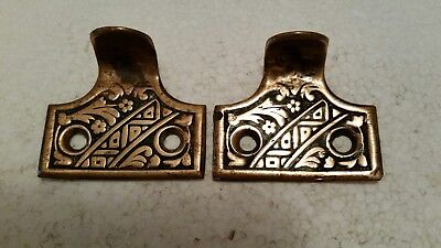Pair Vintage Antique Victorian Solid Brass  Sash Lift Window Lifts (#3H)